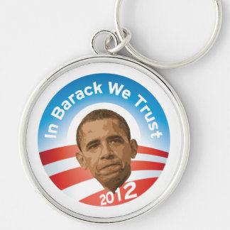 En Barack confiamos en Llavero Redondo Plateado