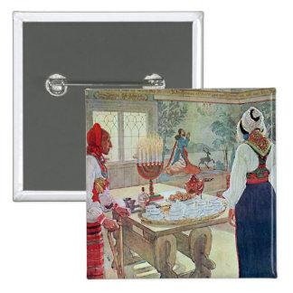 En Bergman Stuga de Carl Larsson Pin Cuadrada 5 Cm