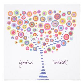 """En blanco retros del árbol del círculo completan invitación 5.25"""" x 5.25"""""""