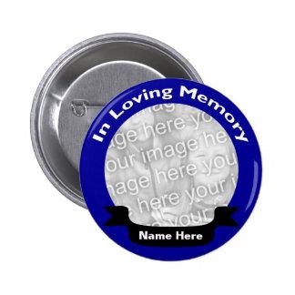 En botón de memoria/azul cariñosos pin