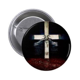 En botón del pecado y de la miseria pin redondo de 2 pulgadas