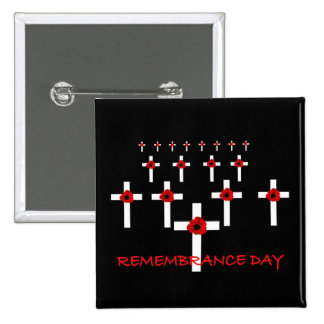 En botones del día de la conmemoración de los pin cuadrado