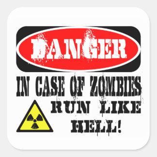 ¡En caso de los zombis funcionados con mucho! Pegatina Cuadrada