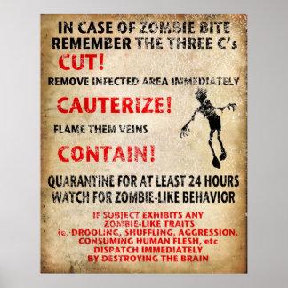 """""""En caso de mordedura del zombi """" Poster"""