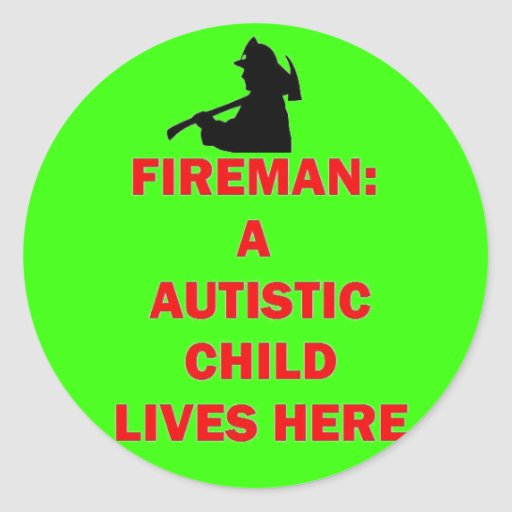 En caso de niño autístico de la reserva del fuego etiquetas redondas