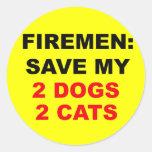 En caso de reserva del fuego mis perros y gatos etiqueta redonda