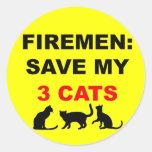 En caso de reserva del fuego mis tres gatos etiquetas redondas