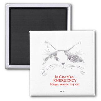 En caso de una emergencia rescate por favor mi gat imán cuadrado