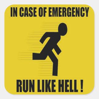 En caso de urgencia corra mucho pegatina cuadrada