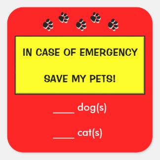 En caso de urgencia el rescate alerta acaricia a pegatina cuadrada