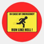 En caso de urgencia… funcionamiento mucho pegatina redonda