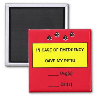 En caso de urgencia imán del rescate del mascota