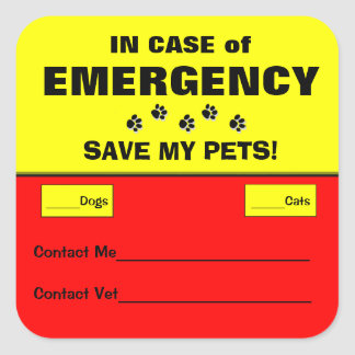 En caso de urgencia pegatinas alertas del mascota pegatina cuadrada