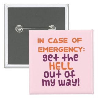 En caso de urgencia… pin cuadrada 5 cm