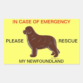 En caso de urgencia seguridad del perro de pegatina rectangular