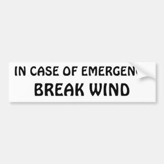 En caso de urgencia - viento de la rotura etiqueta de parachoque