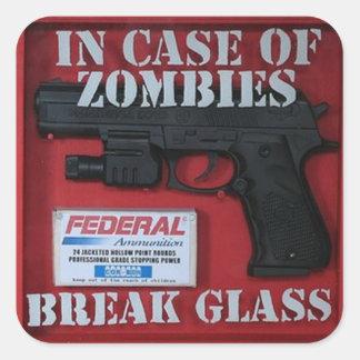 En caso de zombis pegatina cuadrada
