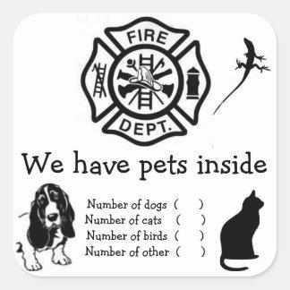 En caso del fuego acaricia a los pegatinas pegatina cuadrada