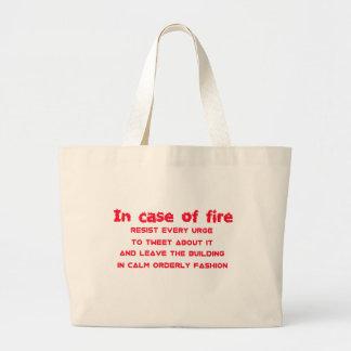en caso del fuego resista el impulso de piar bolsa tela grande