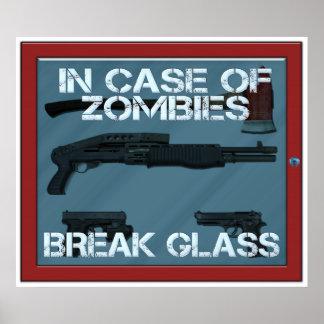 En caso del vidrio de la rotura de los zombis póster
