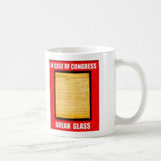 En caso del vidrio de la rotura del congreso taza