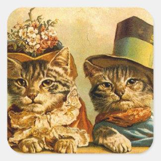 En--ciudad vestida vintage de los pares del gato pegatina cuadrada