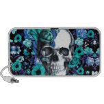 En cráneo floral azul de la floración notebook altavoz