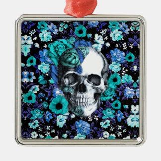 En cráneo floral azul de la floración adornos de navidad
