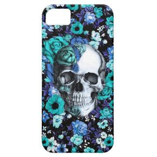 En cráneo floral azul de la floración funda para iPhone SE/5/5s