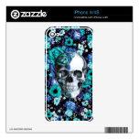 En cráneo floral azul de la floración skins para iPhone 4