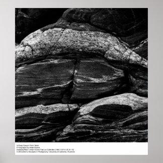 En detalle profundo de la roca del barranco de Ans Póster