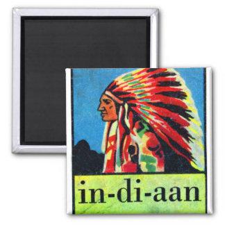 En-di-aan indios holandeses retros del kitsch 30s  imán cuadrado