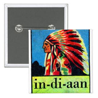 En-di-aan indios holandeses retros del kitsch 30s  pin cuadrado