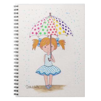 En dias de lluvia, paraguas de colores libretas espirales