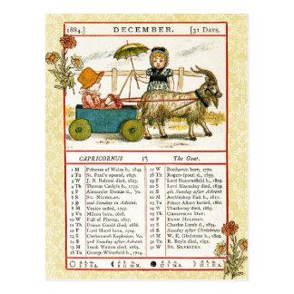 En diciembre de 1884 almanaque.  Capricornio, la c Postales