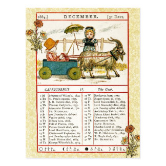 En diciembre de 1884 almanaque.  Capricornio, la Postales
