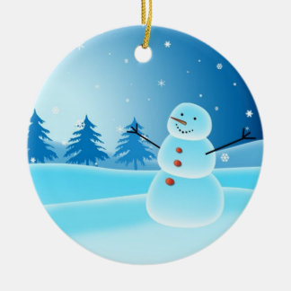 En diciembre de 2010 ornamento del muñeco de nieve adorno navideño redondo de cerámica