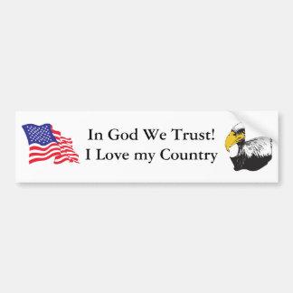 En dios confiamos en etiqueta de parachoque