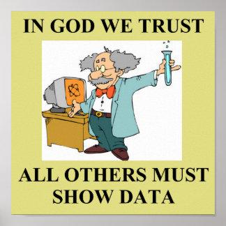 en dios confiamos en chiste de la ciencia póster