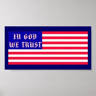 En dios confiamos en la bandera americana poster