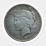 En DIOS confiamos en - la moneda de 1922 Etiquetas Redondas