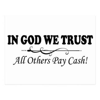 En dios confiamos en, todos los otros efectivo de tarjeta postal