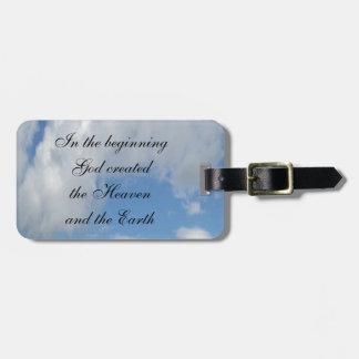 En dios del principio creado…. Nube Etiqueta De Equipaje