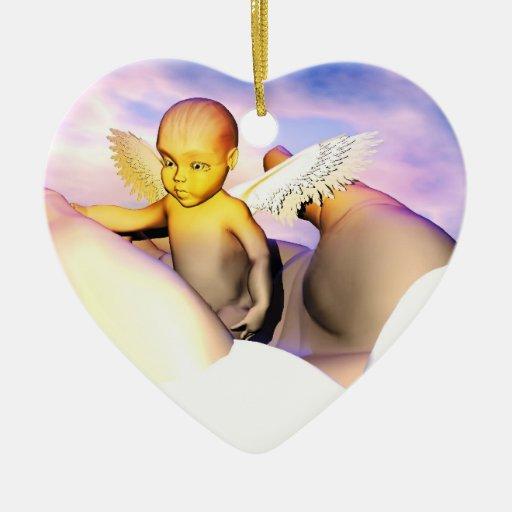 En dios las manos en la memoria cariñosa de adorno de cerámica en forma de corazón