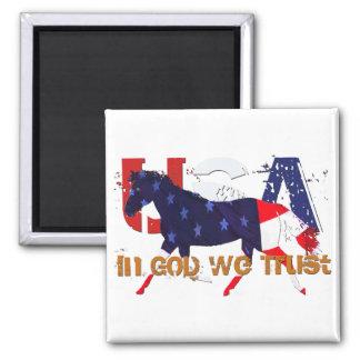 En dios nosotros caballo Confianza-Patriótico Imán Para Frigorífico