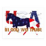 En dios nosotros caballo Confianza-Patriótico Postales