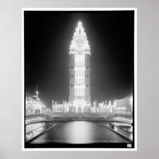 En Dreamland en la noche, Coney Island, N.Y. c1905 Póster