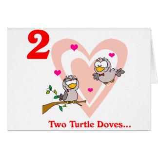 En el 2do día de navidad dos palomas de la tortuga tarjeton