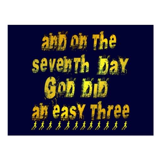 En el 7mo día dios hizo un humor corriente tres postal