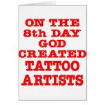 En el 8vo día dios creó a artistas del tatuaje tarjetón